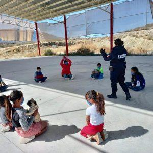 Seguridad Pública Municipal realiza plática con niños
