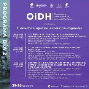 """Jornada del Observatorio Internacional de Derechos Humanos """"El Derecho al Agua de las Personas Migrant"""