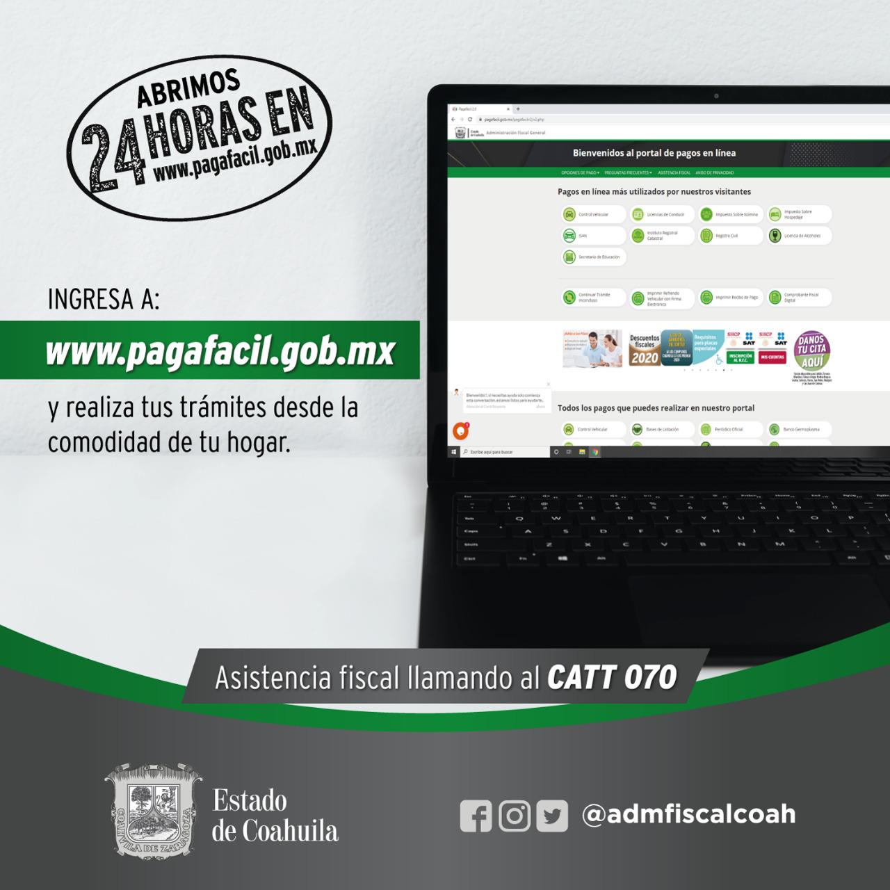 REALIZA TUS TRÁMITES DESDE PAGAFACIL Y AHORRA TIEMPO EN COAHUILA